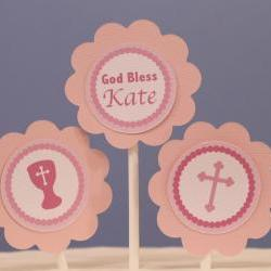 God Bless Pink Cupcake Toppers